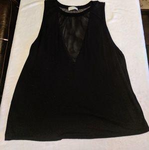 Black plus size mesh low cut tank top